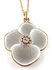 £30 Art Nouveau Gold Grey Flower Pendant Necklace Swarovski Elements Crystal