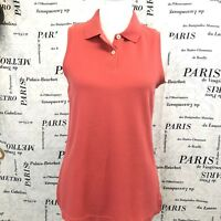 LL Bean S Reg Shirt Pink Collared Sleeveless Button Front Cotton B36
