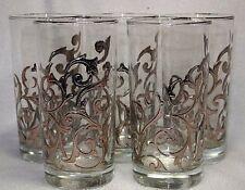 Vtg Set of 5 60s Libbey ORSINI 12oz Platinum Scrolls Tumblers Glasses Eames