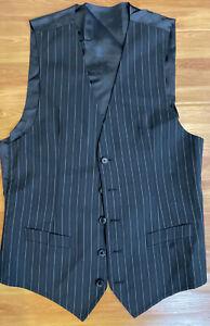 DOLCE & GABBANA STAFF Vest Waistcoat Stripe Black Wool Stretch