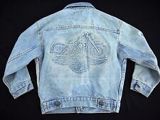 DISTRESSED VINTAGE 80s HARLEY DAVIDSON MOTORCYCLES denim jacket womens trucker