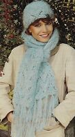 Ladies Knitting Pattern Lacy Scarf and Hat Chunky  645