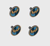4 Lego Castle Round Flat Shields w/ Winged Helmet -King Knight Weapon Minifiure