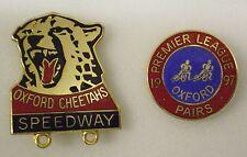 OXFORD CHEETAHS SPEEDWAY & OXFORD PREMIER LEAGUE 2 x Enamel Lapel Pin Badges