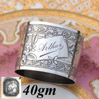 "Antique French Sterling Silver 2"" Napkin Ring, Ornate Foliate Pattern, ""Arthur"""