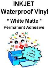 INKJET Waterproof PERMANENT Adhesive Decal Vinyl - 20 Sheets - MATTE WHITE