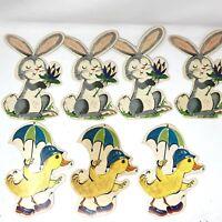 7 Vintage Easter Die Cuts Thick Cardboard Banner Chicks W/ Umbrellas & Bunnies