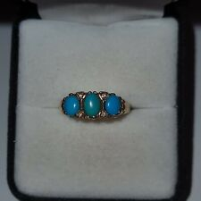 Vintage 9ct Gold Turquoise and Diamond Ring