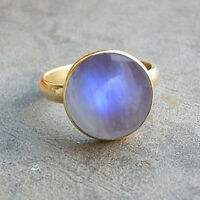 Blue Fire Rainbow Moonstone Gemstone 14K Yellow Gold Wedding Gift Ring Size 7