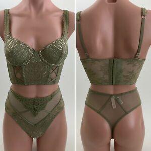 Details about  /36B Bra Victoria/'s Secret Lace Overlay Balconnet String Thong Lrg Vintage New