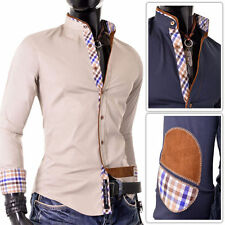 Grandad Checked Long Sleeve Casual Shirts & Tops for Men