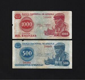 Portugal ANGOLA SET 500 + 1000  KWANZAS 1979  P-116 AND P-117
