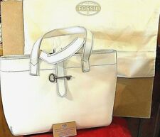 Authentic FOSSIL Handbag Large White Leather Satchel Tote With Dust Bag