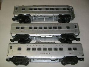LIONEL STREAMLINED ILLUMINATED PASSENGER CARS W/BOXES - 2432 , 2434 , 2436 EXC