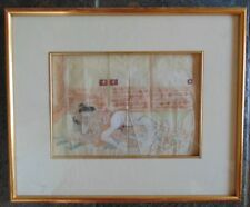 Meiji era (1868-1912) Pillow Book painting with contemporary frame