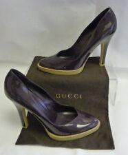 GUCCI Womens Platform Pumps 8.5B Plum Purple Stilettos Patent Leather Italy