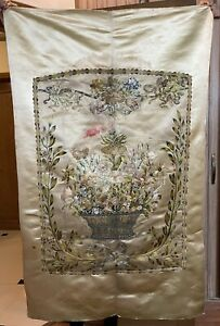 Antique French+Italy Hand Embroidery Gold Threads Panel Wall Hanging 82 X 132 Cm