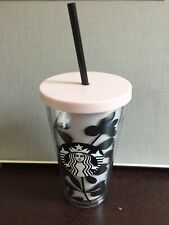 Starbucks Black Flower Tumbler / Cold Cup w/ Siren Logo Pink Lid Straw -No Card