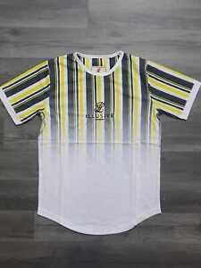 Illusive London Boy's Core Tee T-Shirt Kids Pin Stripe Fade White Black age 9/10