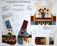 New Country Bears Bees Kid's Vest Sewing Fabric Panel Material XS S M L