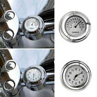"""7/8"""" 1"""" Motorcycle Handlebar Mount Chrome Clock Dial Watch Thermometer"""