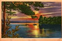 Vintage Postcard, Summer sunset over lake with boats, Muskoka Ontario Canada bb