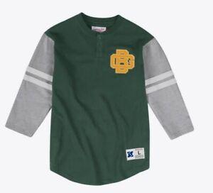 Green Bay Packers Mitchell & Ness 3/4 Henley Shirt Mens M L 3XL, 4XL, 5XL NEW