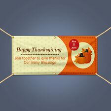 Happy Thanksgiving Give Thanks Pumpkin Decor Vinyl Outdoor Banner Sign, 3' X 2'