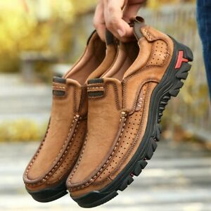 Mens Non Slip Hiking Shoes Comfortable Cowhide Leather Army Boots Casual Fashion