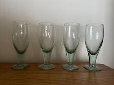 New ListingVtg 70's 4 Rare Perrier Green Drinking Glasses Barware Footed Pedestal Branded