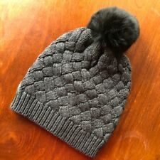 fba40ade68e29 NEW J Crew Hat Beanie Cap Charcoal Gray Cable Knit Faux Fur Pom Pom One Size