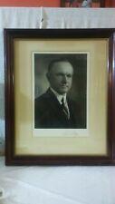 30th President Calvin Coolidge Signed Photograph framed under plexiglass