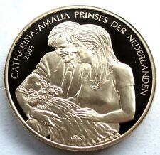 NETHERLANDS Prinses Catharina-Amalia 2003 BU Proof Medal 39mm 26g Gold Plated B8