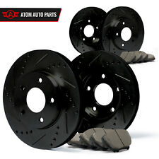 2007 2008 Fits Hyundai Accent (Black) Slot Drill Rotor Ceramic Pads F+R