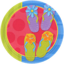 """Amscan 8 Pack FUN IN THE SUN Flip Flop Round Paper Plates Party Tableware 10"""""""