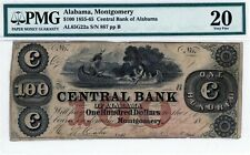 Montgomery, Alabama Central Bank of Alabama $100 1855-65 Obsolete Pmg 20