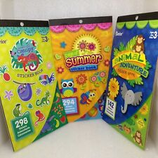Lot of 3 Darice Animal Sticker Books 734 Stickers Insects Summer