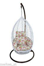 Hängesessel weiß inkl. Kissen Hanging Chair Terrasse Garten Wintergarten NEU