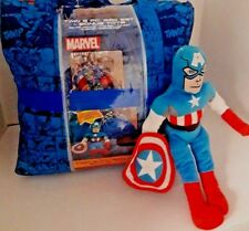 Capt American 5 Piece Twin Reversible Comforter & Sheet Set with Character Buddy