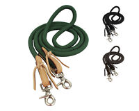 "Tahoe Tack Horse Nylon Barrel Reins with USA Leather Ends 5/8"" X 7' - Green"