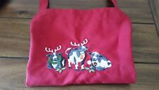 Embroidered Christmas Holiday Farm Cows Red Chef Apron