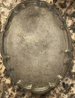 VTG/Antique Plate Silver tone serving tray platter unusual stamp mark