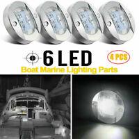 "4X 3"" Round LED Marine Boat Cabin Deck Walkway Courtesy Lights White Stern Lamp"