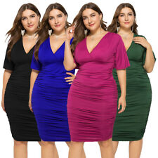 Women V-neck Short Sleeve Bodycon Pleated Midi Dress Evening Party Clubwear Gown