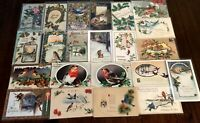 ~Estate~Lot of 25~CHRISTMAS & NEW YEAR'S~BIRDS~ Vintage BIRD Postcards-a769