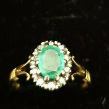 Beautiful vintage 18K WHITE GOLD NATURAL DIAMOND & emerald RING SIZE N1/2, C1/R4