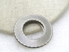 "Vintage Round Ridged Scarf Clip, signed Lieba USA, 1.5"" , Silver Tone, 1960's"
