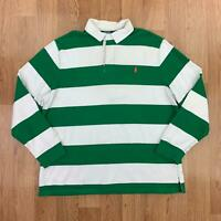 Vintage POLO RALPH LAUREN Mens Striped Rugby Shirt | Long Sleeve | 2XL Green
