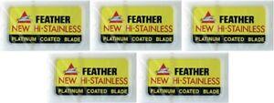 50X Feather Double Edge Razor Blades Platinum Coated Hi-Stainless Steel Japan Ma