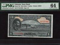 Ethiopia:P-12c,1 Dollar, 1945 * Haile Selassie * PMG Ch. UNC 64 *